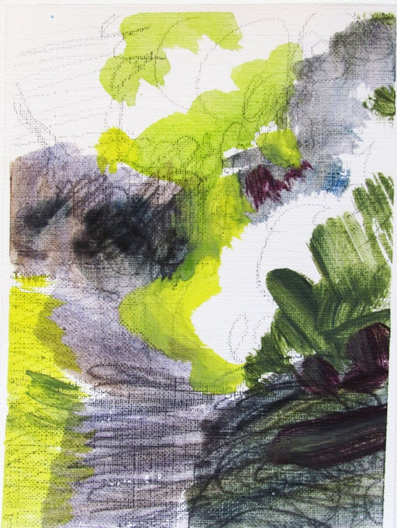 acrylic painting on paper- Study 29 - small painting, original painting - abstract landscape