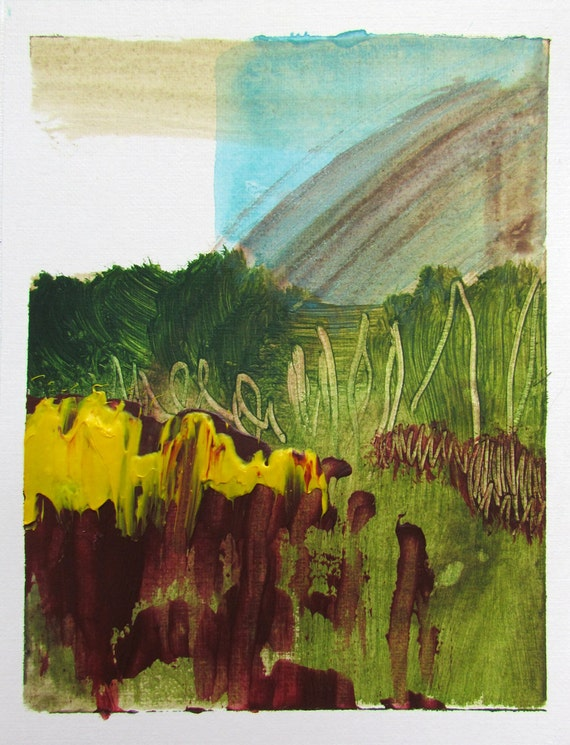 "Small Abstract Landscape Art, 4.5 x 6 original fine art -- ""Painting 145"" --  acrylic painting on paper"