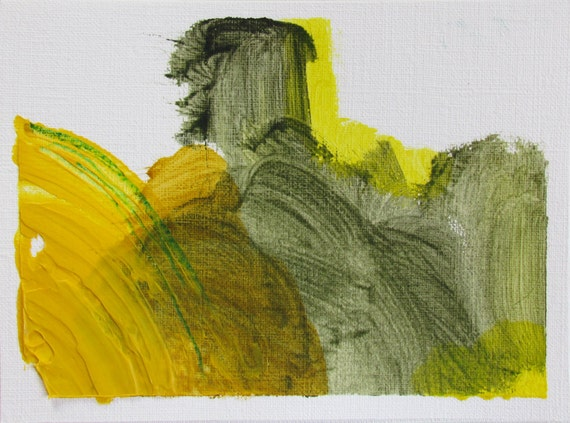 """Yellow Small Abstract Painting, 4.5 x 6 original fine art -- """"Painting 152"""" --  acrylic painting on paper"""