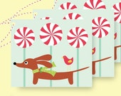 Doxie Peppermint Lollipop Holiday Set of 9 Dachshund Gift Tags