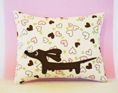 Doxie Valentine Sprinkled Pastel Sweet Hearts Mini Rectangular Decorative Whimsy Pillow Featuring Designer Cotton Fabric