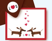 Doxies in Love Anniversary Dachshund Card with Coordinating Envelope and Sticker