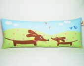 Dachshund Wiener Dog Pillow - Mama and Baby Doxie in the Flower Fields Whimsy Tube Pillow - Nursery Decor