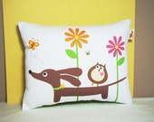 Dachshund Pillow - Doxie and Owl in the Bright Daisy Garden - Whimsical Dog Decor White