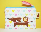 Dachshund Coin Purse - Doxie and Owl Sprinkled Candy Hearts - Womens Accessory White Blue Pink Cute