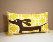Dachshund Wiener Dog Pillow - Doxie in the Autumn Sunshine Garden