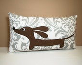 Doxie Dachshund Dog Pillow - Doxie in the Gray Damask Garden Decorative Throw Pillow - Dog Home Decor