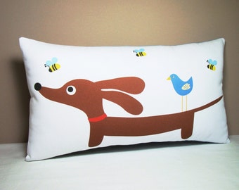 Dachshund Wiener Dog Pillow - Doxie and Bird Friend in the Bee Garden - Whimsical Dog Home Decor Throw Pillow