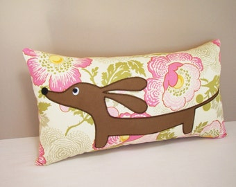 Dachshund Dog Pillow - Doxie in the Happy Garden Decorative Wiener Dog Pillow Pink Moss Cream