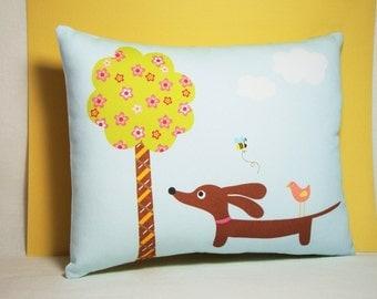Dachshund Wiener Dog Pillow - Doxie Under the Spring Cherry Blossom Tree - Whimsical Dog Decor Blue Nursery Cute Fresh