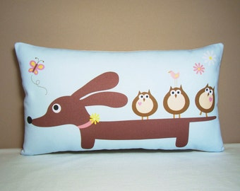 Doxie Dachshund Pillow - Doxie and Owl Friends Wiener Dog Pillow - Whimsical Dog Home Decor Blue