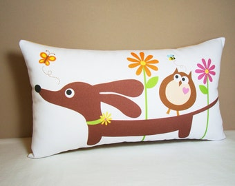 Dachshund Pillow - Doxie and Owl Friend in the Bright Daisy Garden in White - Doxie Home Decor
