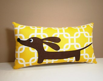 Dachshund Wiener Dog Pillow - Doxie in the Autumn Sunshine Garden
