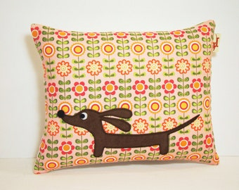 Doxie Dachshund Dog Pillow - Doxie in the Sweet Scandinavian Garden - Whimsical Home Decor