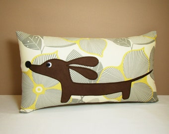 Dachshund Wiener Dog Pillow - Doxie in the Modern Natural Garden - Decorative Pillow Neutral Home Decor