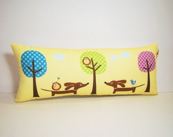 Dachshund Wiener Dog Pillow - Doxie and Owls in the Polka Dot Forest -  Buttercream Yellow Decorative Pillow Whimsical Decor
