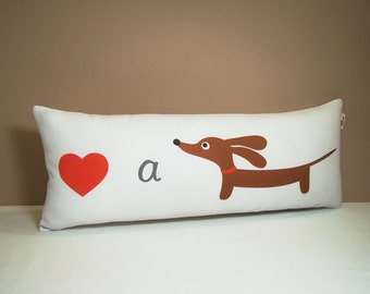 Dachshund Wiener Dog Pillow -  Love a Doxie Modern Gray