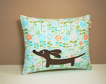 Dachshund Wiener Dog Pillow - Doxie in the Whimsical Garden - Whimsical Home Decor Blue Floral