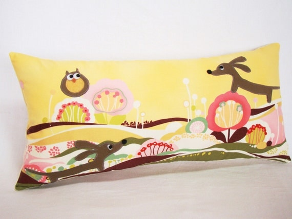 Doxies and Owl Friends in the Lollipop Meadow Decorative Rectangular Dachshund Pillow Featuring Designer Cotton Fabric