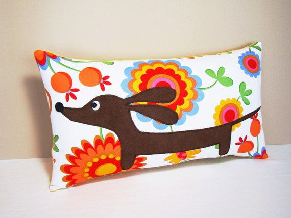 Doxie in the Vibrant Garden Decorative Rectangular Dachshund Pillow Featuring Designer Cotton Fabric in Warm Tones READY TO SHIP