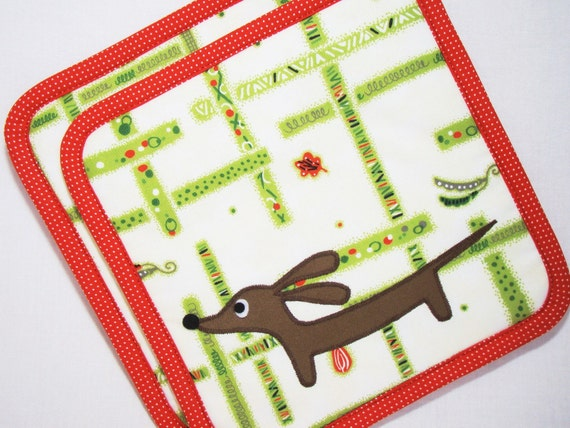 Doxie Down the Garden Path Set of Two Supersized Dachshund Potholders Featuring Designer Cotton Fabric