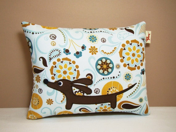 Dachshund Wiener Dog Pillow - Doxie in the Whimsy Dream Garden - Dog Home Decor Blue
