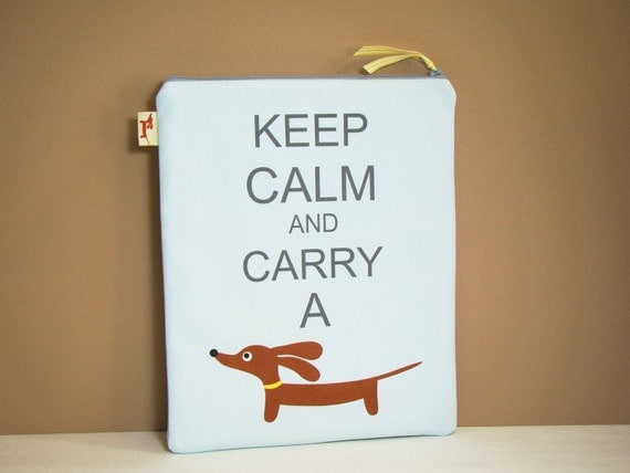 Dachshund iPad Case - Keep Calm and Carry a Doxie in Cloud Blue Tablet Cover