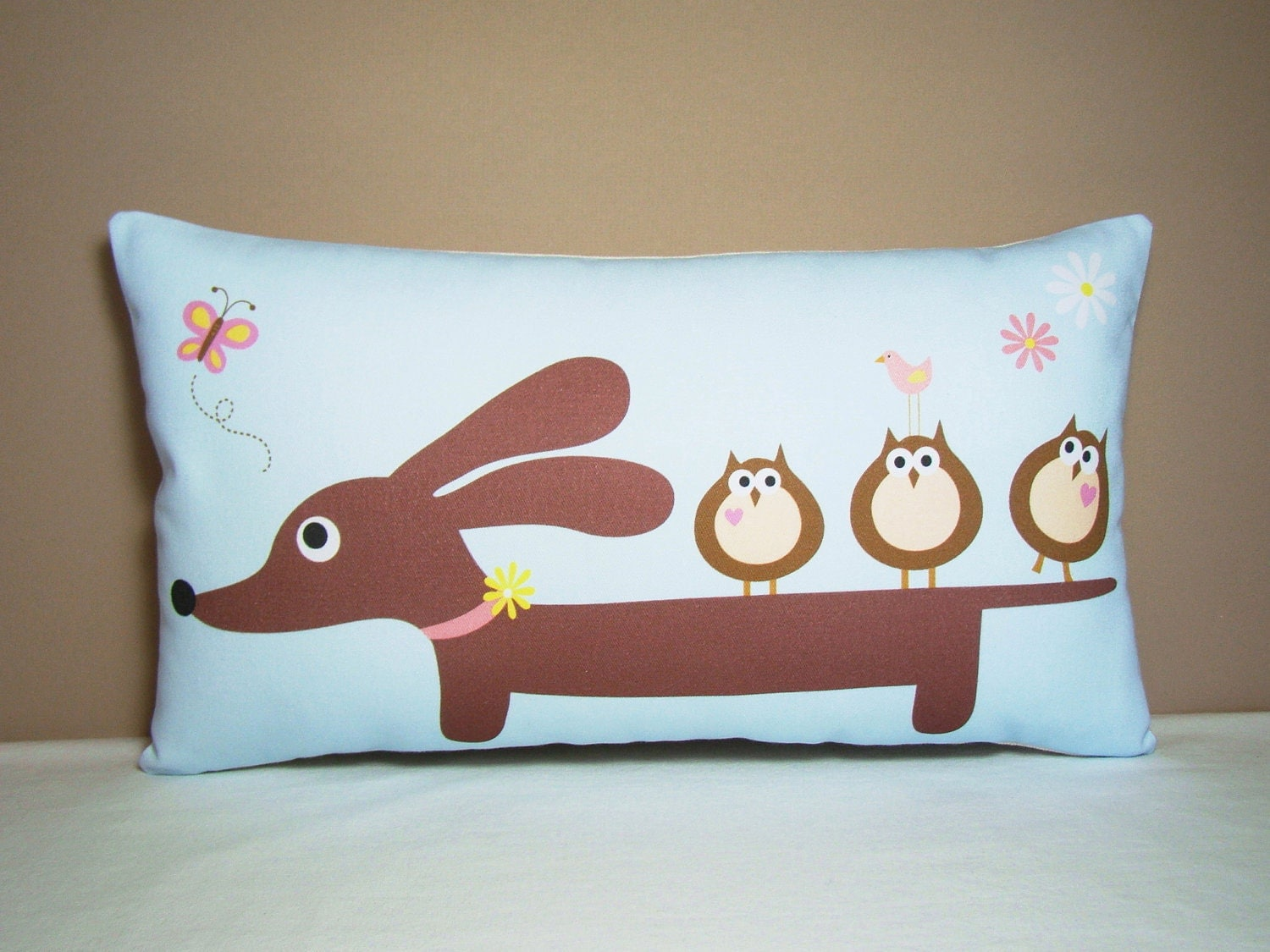 Dachshund Home Decor Doxie Dachshund Pillow Doxie And Owl Friends Wiener Dog
