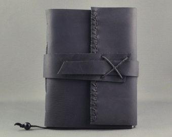 Rustic Black Leather Journal, Medium Size