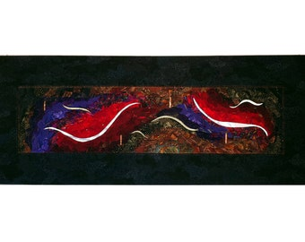 Fiber Mixed Media Wallhanging - Iconic Convergence - 20 x 60