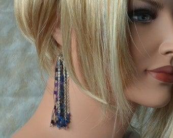 Fiber Earrings with Sterling Silver Hooks - Midnight Blue