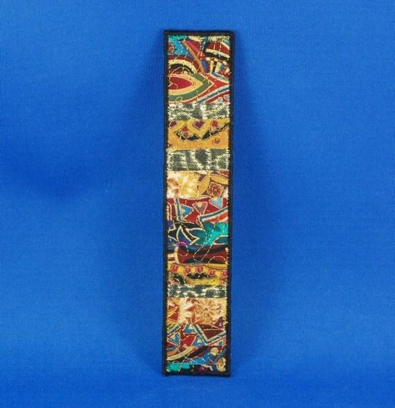 Fabric Collage Bookmark - Pharoah's Choice