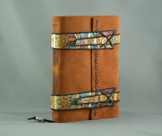 Handmade Leather Journal with Fiber Art Straps for Treasure Seekers