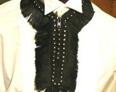Black Zipper and Fringe Necklace OOAK
