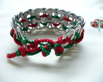 Recycled Red and Green Pop Tab Bracelet