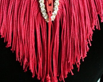 Holiday Red Zipper and Fringe Bling Necklace