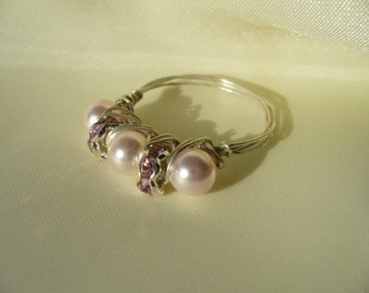 Sterling Wire Wrapped Pink Pearls and Crystals Ring