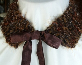 Knitted Brown Collar with a hit of Glitz