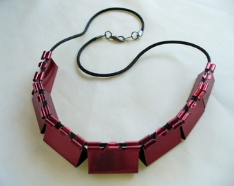 Recycled Red Binder Clip Necklace