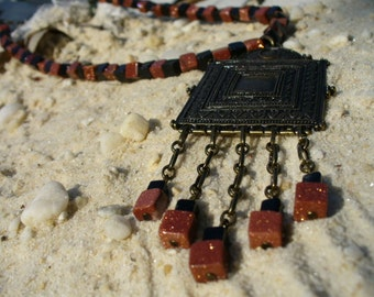 Cleopatras' Doorway Goldstone and Obsidian Necklace Set