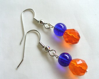 Bright Blue and Orange Earrings