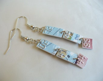 Recycled Credit Card Earrings in Pink and Blue