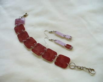 Recycled Credit Card Bracelet and Earrings