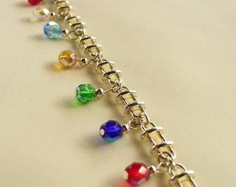 Rainbow on a Ladder Silverplated Bracelet