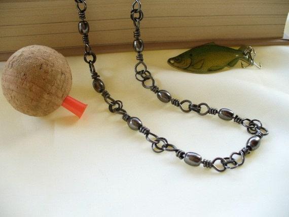 Mens Black Fishing Swivel Necklace