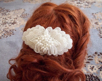 Brides  Art Nouveau seed bead and pearl ornate barrette formal occasion wedding prom heavy beaded