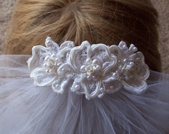 Communion headpiece White porcelain rose and lace with pearl back crown with veil