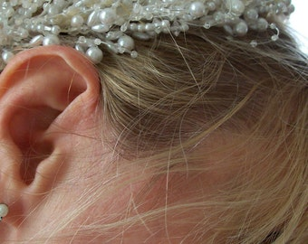 Bridal delicate pearl and seed bead tiara pointed off white