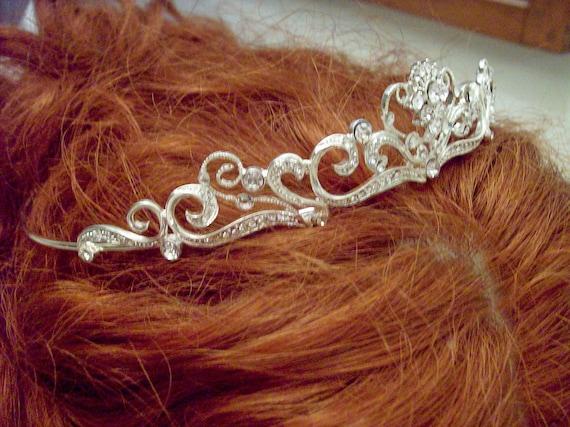 Bridal sterling rhinestone Swarovski swirl tiara