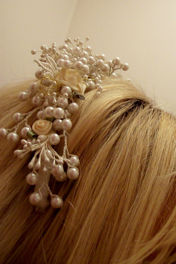 Victorian inspired bridal headpiece ivory and white pearl rolled satin roses antique lace headband  wedding crown tiara
